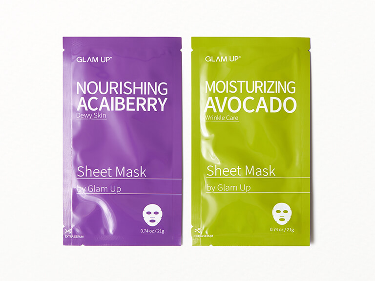 GLAM UP Moisturizing Avocado and Nourishing Acai Berry Sheet Mask Set
