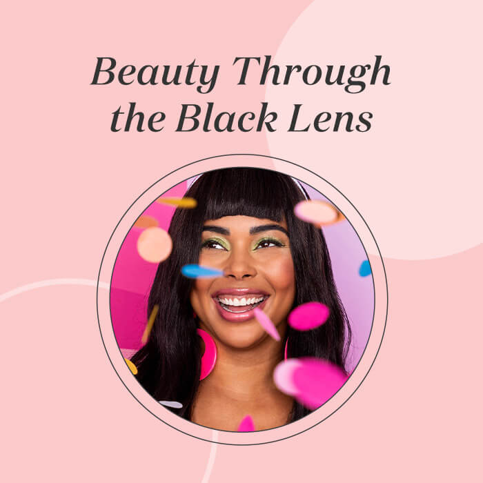 Profile image of a smiling Tabria Majors with colorful confetti inside pink frame with black text Beauty Through the Black Lens