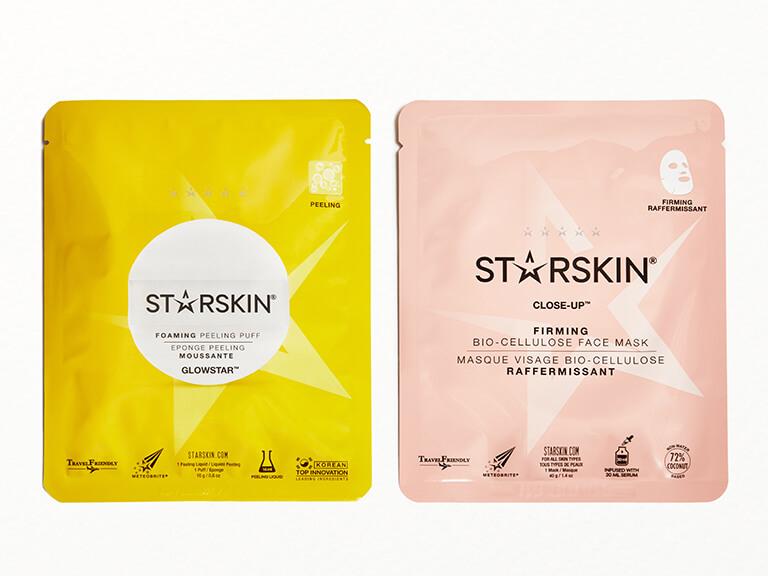 STARSKIN Close-up™ Coconut Bio-Cellulose Second Skin Firming Face Mask & GLOWSTAR™ Foaming Peeling Puff Set