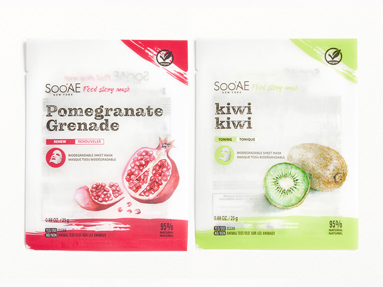 SOO AE Food Story Pomegranate and Kiwi Sheet Mask Duo