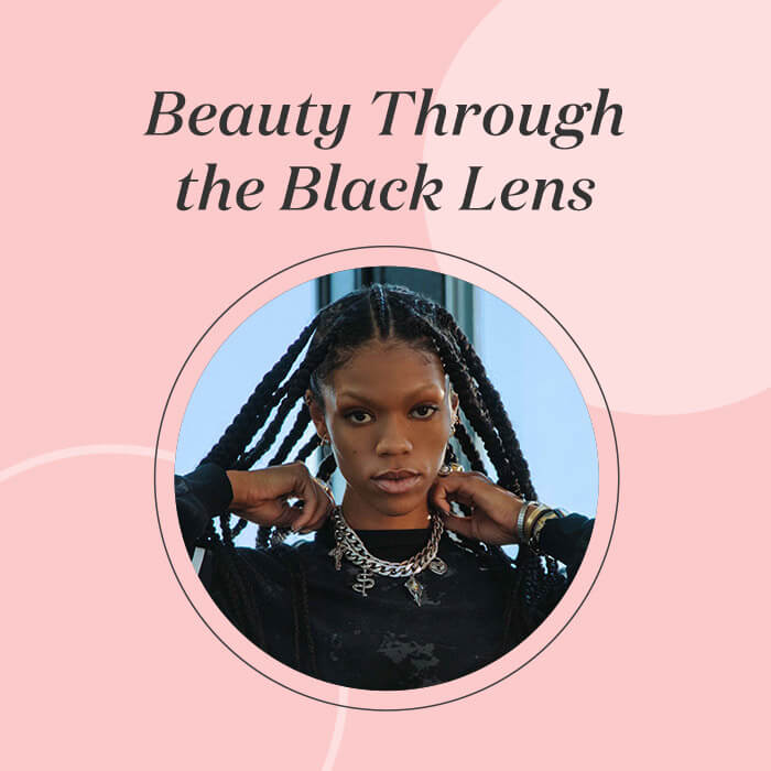 """Image of Vashti Cunningham posing in pink frame with black text """"Beauty Through the Black Lens"""""""