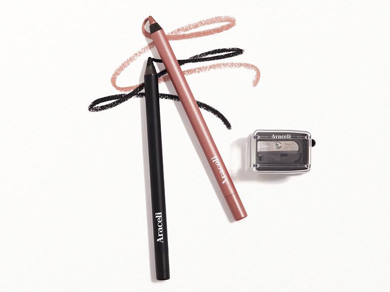 ARACELI BEAUTY Ojos Perfectos Gel Pencil Eyeliner Dúo + Cosmética Sharpener in Rose GoldRosa Dorado + Black  Negro