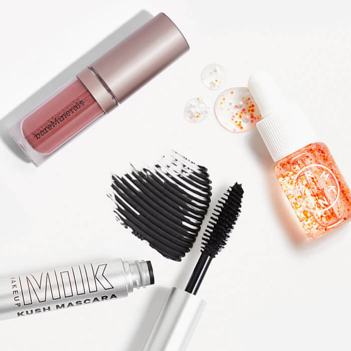Images of makeup and skincare products from the April 2021 IPSY Glam Bag swatched on white background