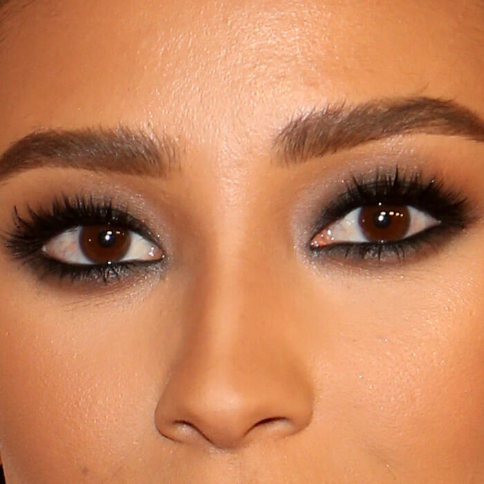 Close-up of Shay Mitchell's smoky eye makeup