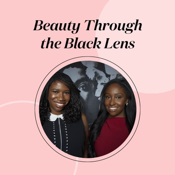 "Profile image of KJ Miller and Amanda E. Johnson on pink frame with black text ""Beauty Through the Black Lens"""