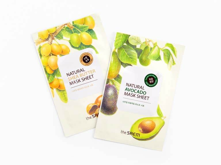 THE SAEM Natural Avocado and Shea Butter Mask Sheet Set