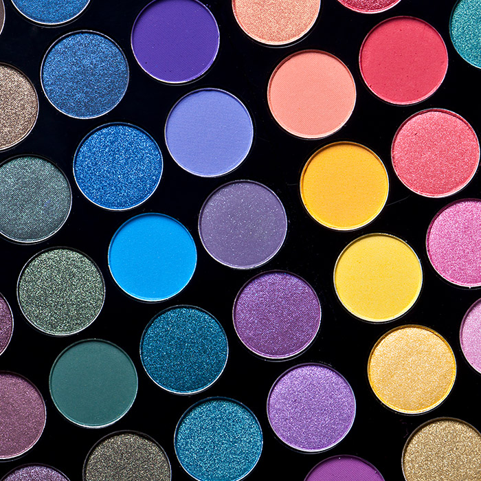 A photo of different colorful eyeshadow colors