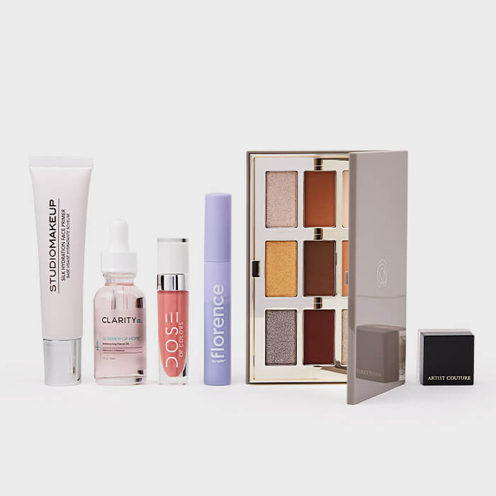 December 2020 IPSY Glam Bag Ultimate skincare and makeup products on white background