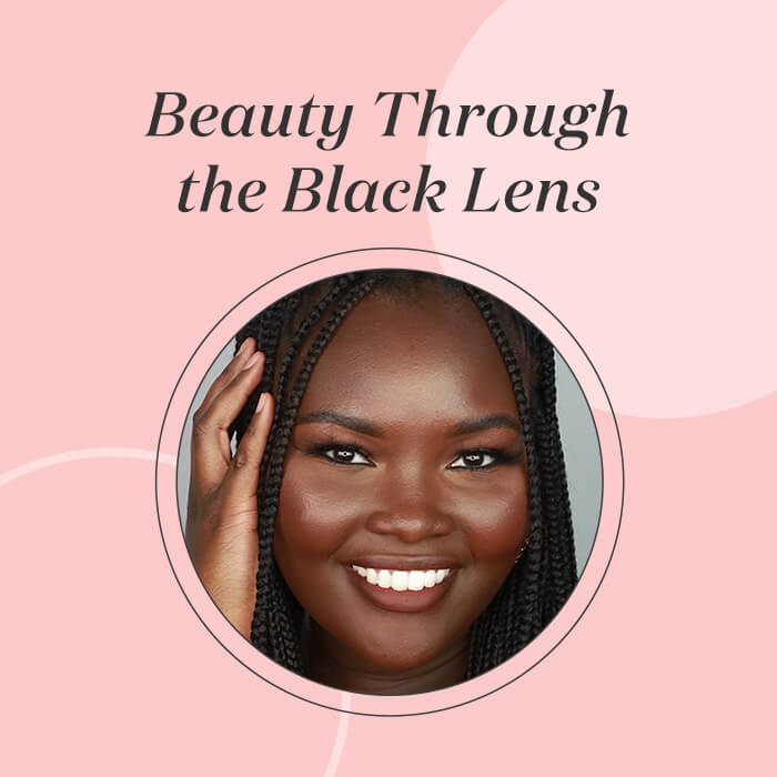 Profile image of Ndeye Peinda on pink background with black text Beauty Through the Black Lens