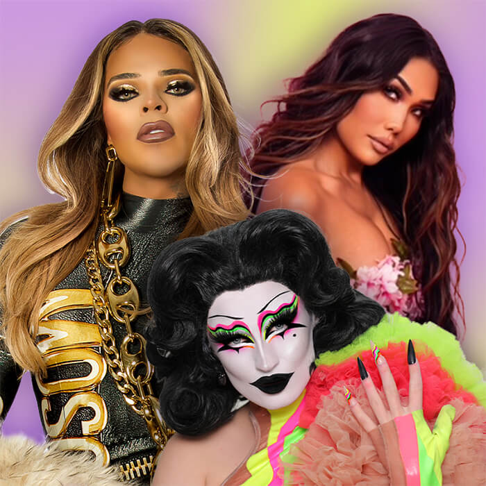 Close-up image of Vanessa Vanjie Mateo, Gottmik, and Gia Gunn on colorful background