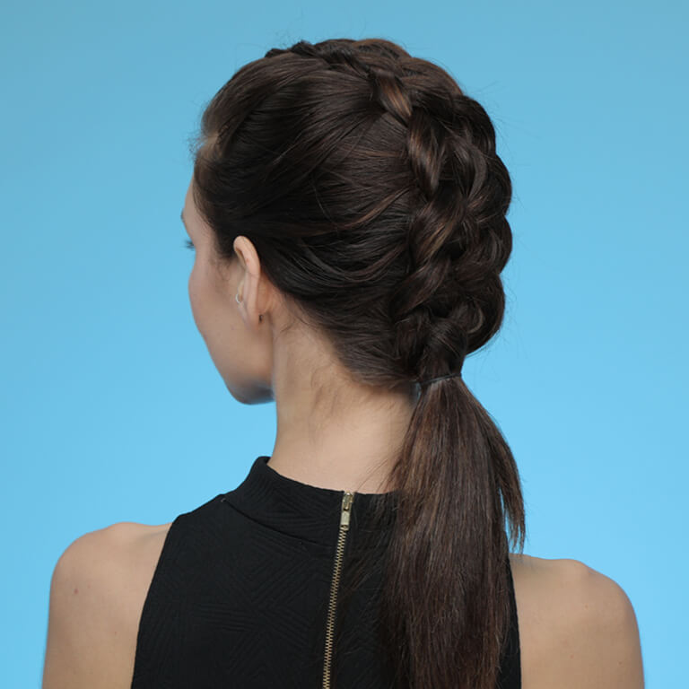 A girl with dutch braids
