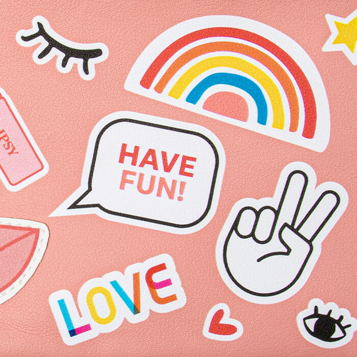 Cute and colorful stickers on pink background