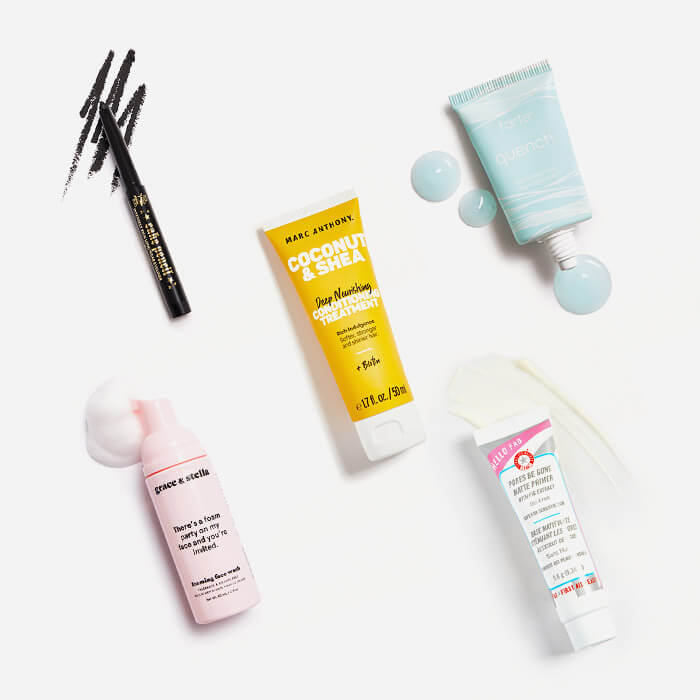 Makeup, hair care, and skincare products from the July 2021 IPSY Glam Bag swatched on white background