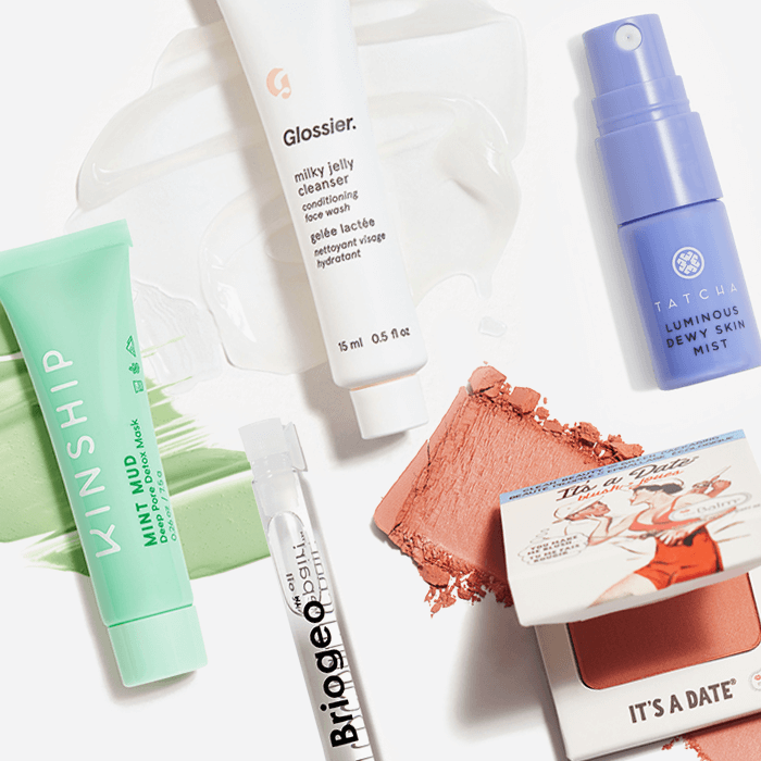 Makeup, skincare, and hair care products from the November 2021 IPSY Glam Bag swatched on white background