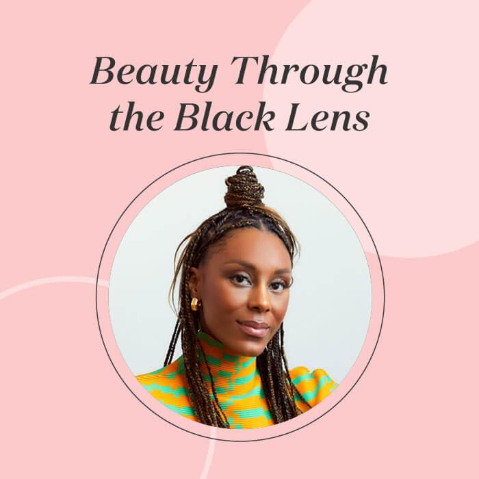 "Profile image of Brooke DeVard Ozaydinli on pink frame with black text ""Beauty Through the Black Lens"""