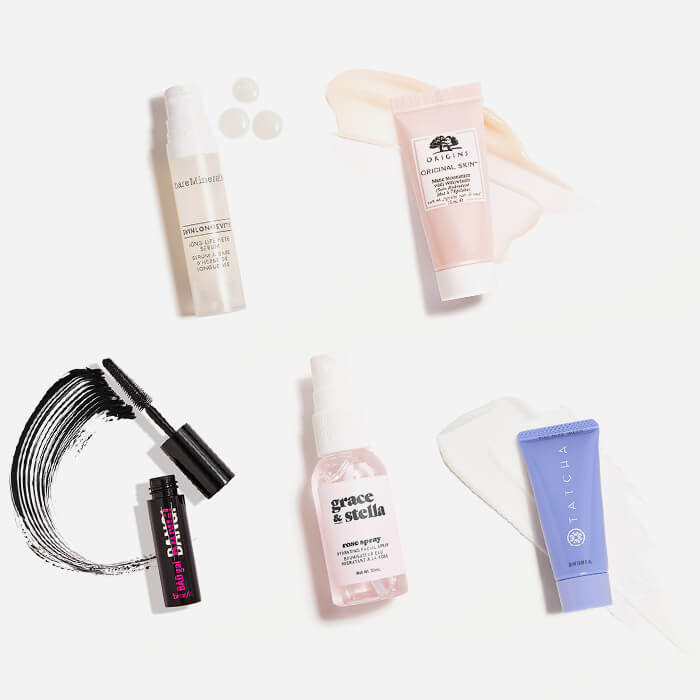 Makeup and skincare products from the September 2021 IPSY Glam Bag swatched on white background