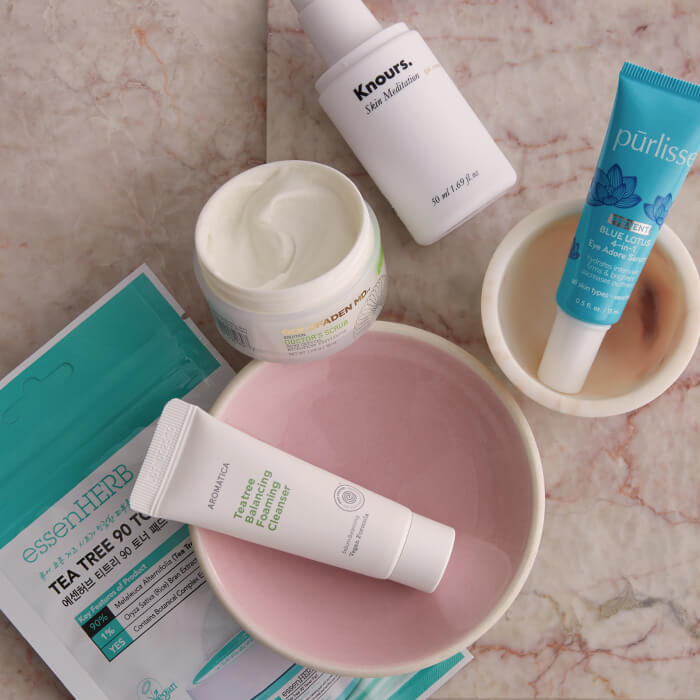 A flatlay image of skincare products for acne