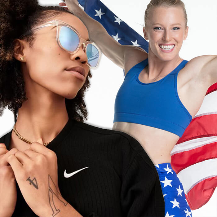Image of Vashti Cunningham wearing sunglasses and Sandi Morris smiling and holding the American flag behind her
