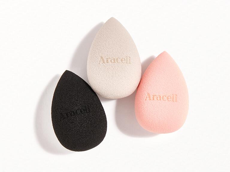 ARACELI_BEAUTY_Bella_Sponge_Trio_in_Black,_Grey,_ _Pink
