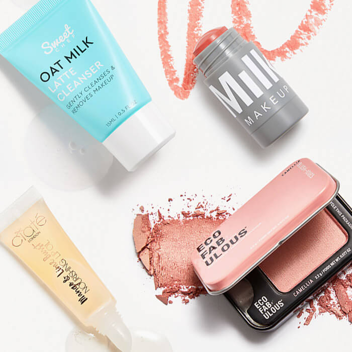Four skincare and makeup products from the March 2021 IPSY Glam Bag swatched on white background