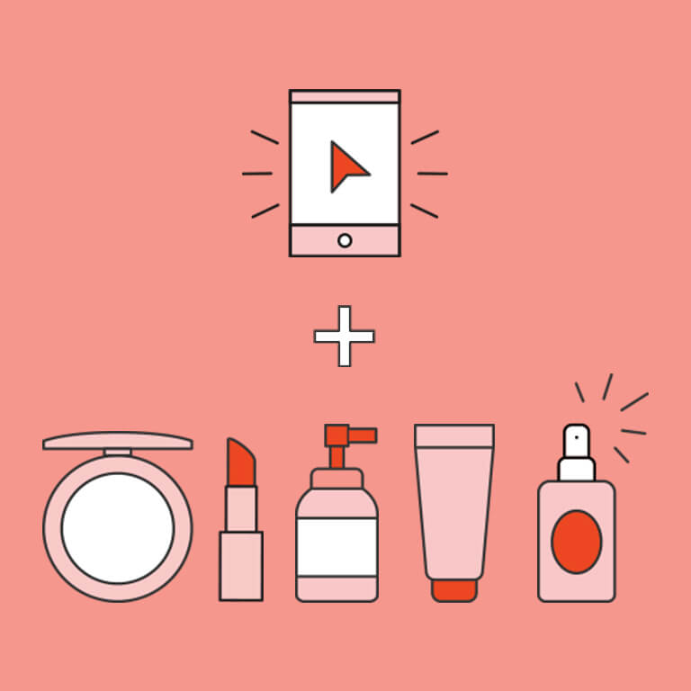An image of a cell phone and beauty items