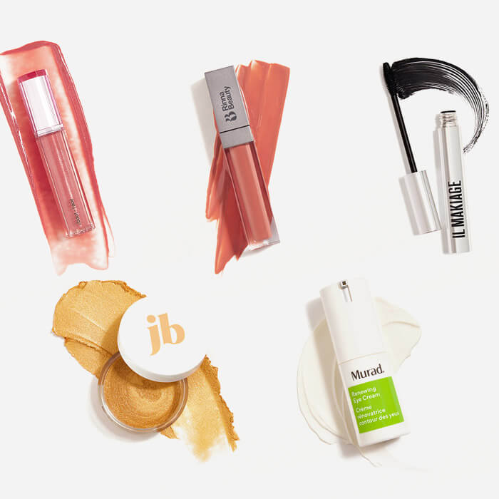 Makeup and skincare products from the October 2021 IPSY Glam Bag Plus swatched on white background