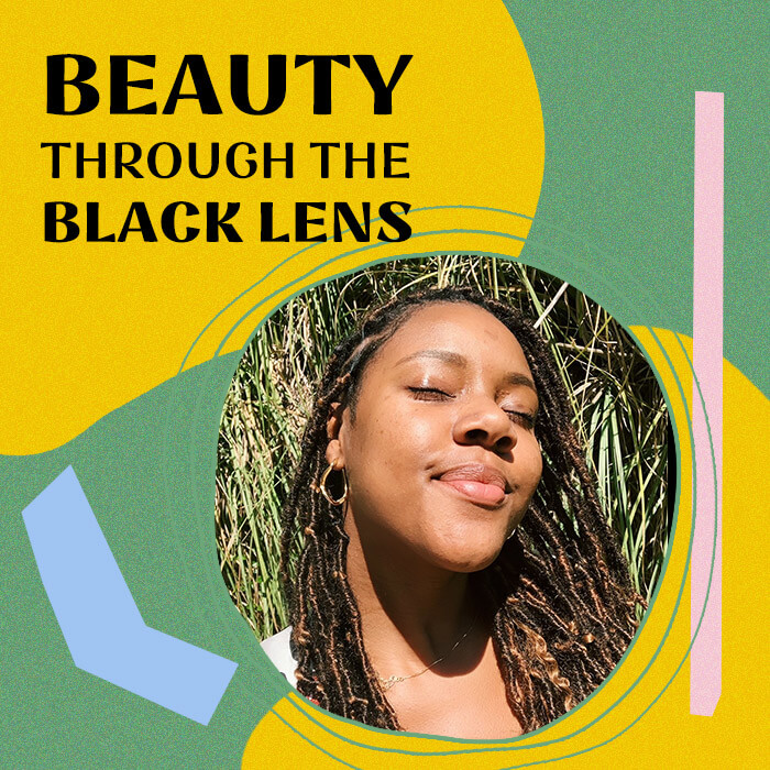 "Profile image of Kindra Moné on colorful border with black text ""Beauty Through the Black Lens"""