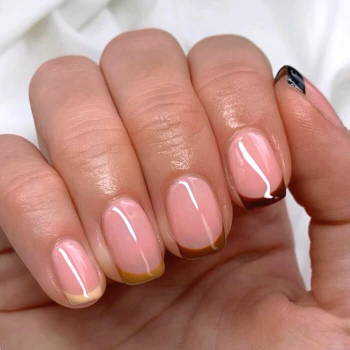 Image of a multicolored French nail mani