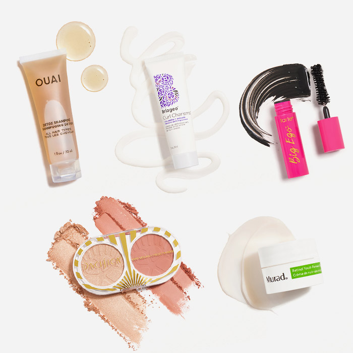 Makeup, skincare, and hair care products from the October 2021 IPSY Glam Bag swatched on white background