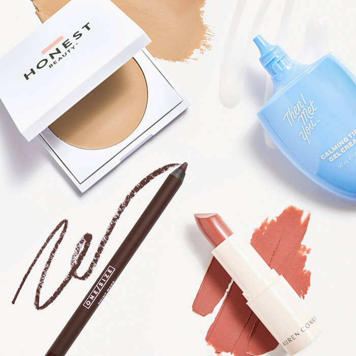 Skincare and makeup products from April 2021 IPSY Glam Bag and Glam Bag Plus swatched on white background