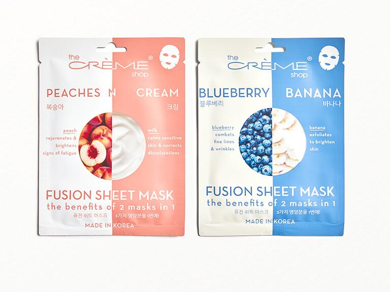 THE CRÈME SHOP Fusion Sheet Mask Duo - Blueberry Banana & Peaches N Cream