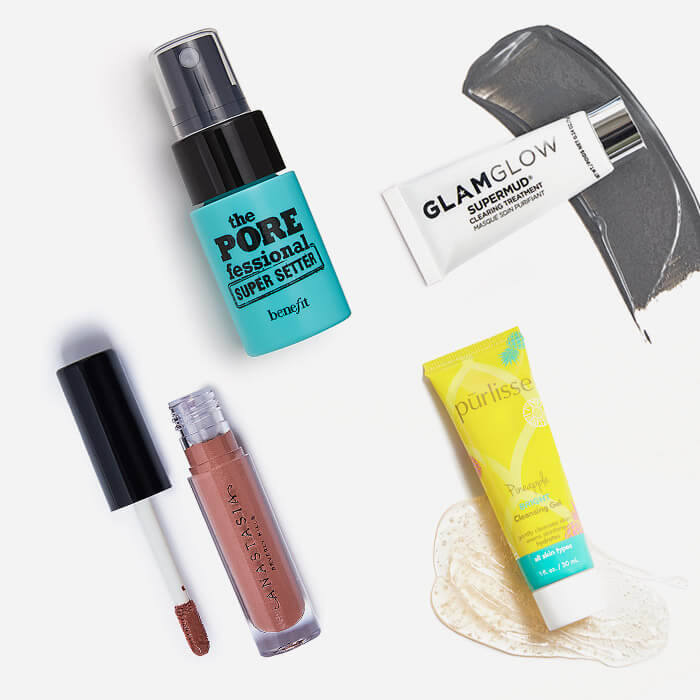 Makeup and skincare products from the June 2021 IPSY Glam Bag swatched on white background
