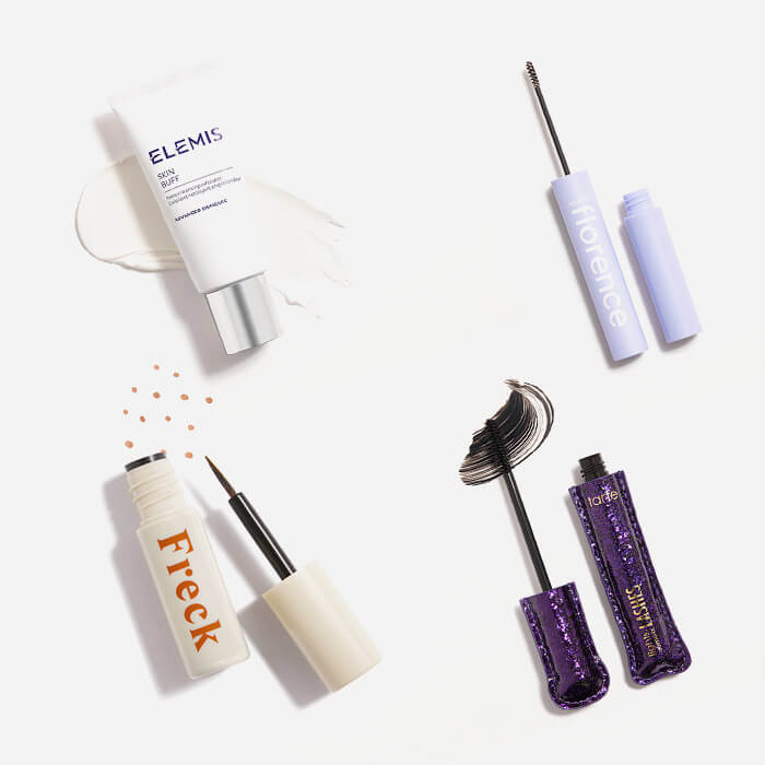 Makeup and skincare products from August 2021 IPSY Glam Bag Plus swatched on white background