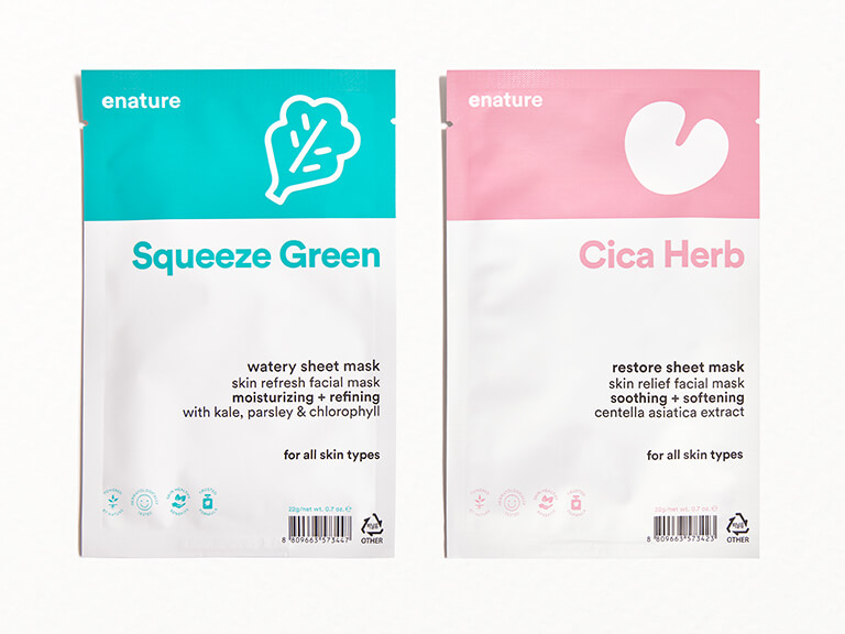 ENATURE Cica Herb Restore and Squeeze Green Watery Sheet Mask Duo