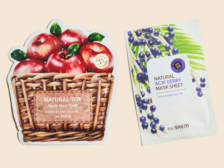 Natural Acai Berry Sheet Mask and Natural-tox Apple Sheet Mask
